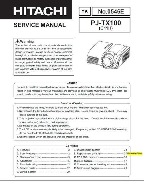 Hitachi Pj Tx 100 Projector Original Service Repair Manual Hitachi Manual Procedural Writing