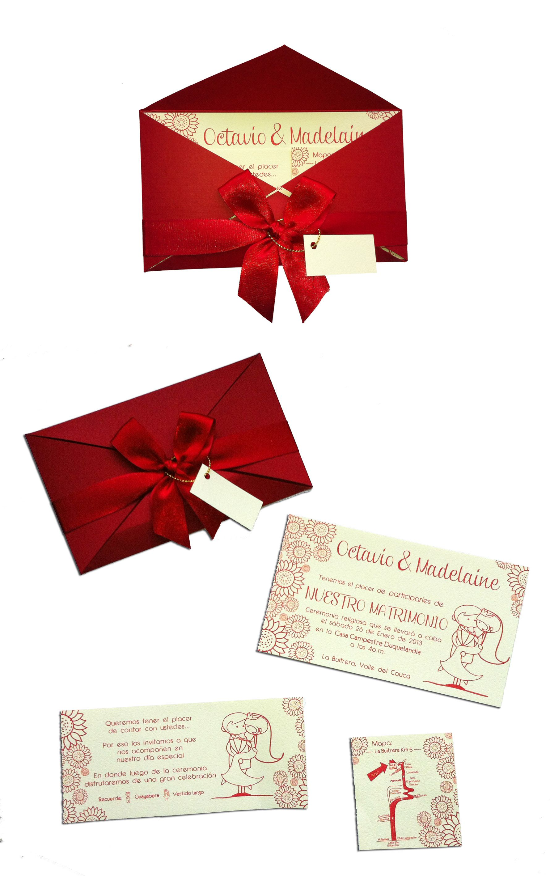 Red Wedding Invitation-like, but minus the little kid images ...