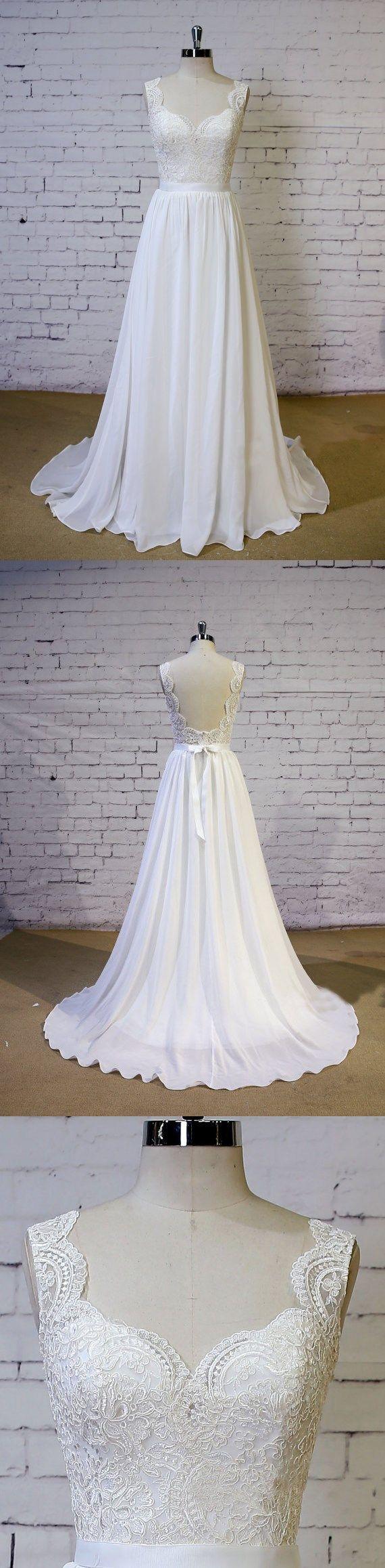 Aline ivory chiffon with lace bodice sweep train beach wedding