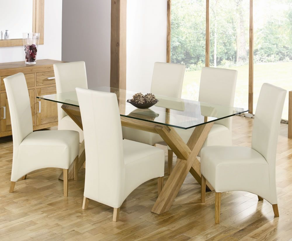 Image of dining room decoration using wooden x table base including white leather unique dining chair and rectangular round glass top dining table sets