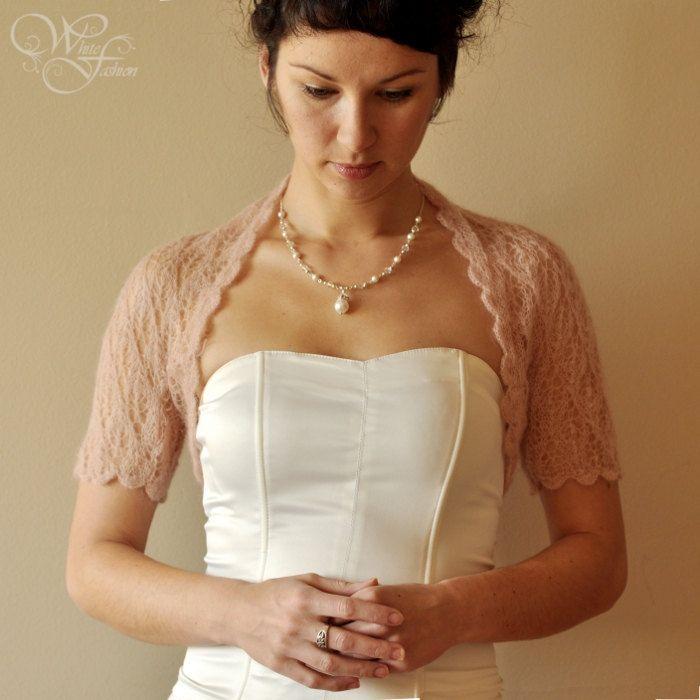 BRIDAL SHRUG wedding bolero in beige color lace pattern ...