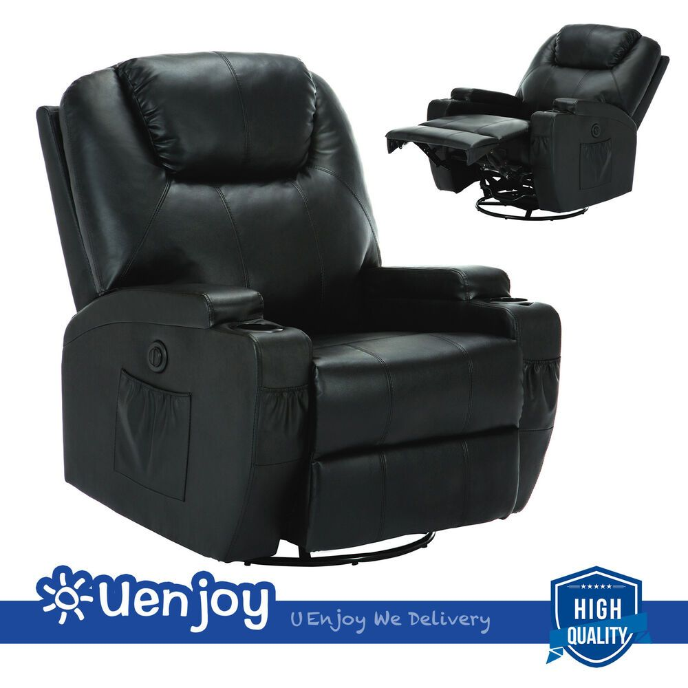 Electric Massage Chair Recliner Sofa Swivel Heated Chair New Black