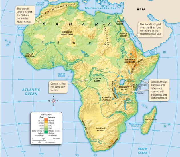 africa map with deserts and mountains