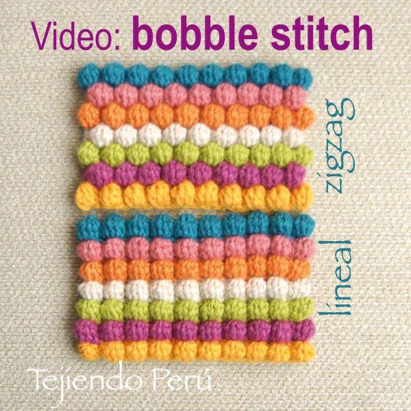 Crochet bobble stitch (puff stitch) tejido en forma lineal y en ...