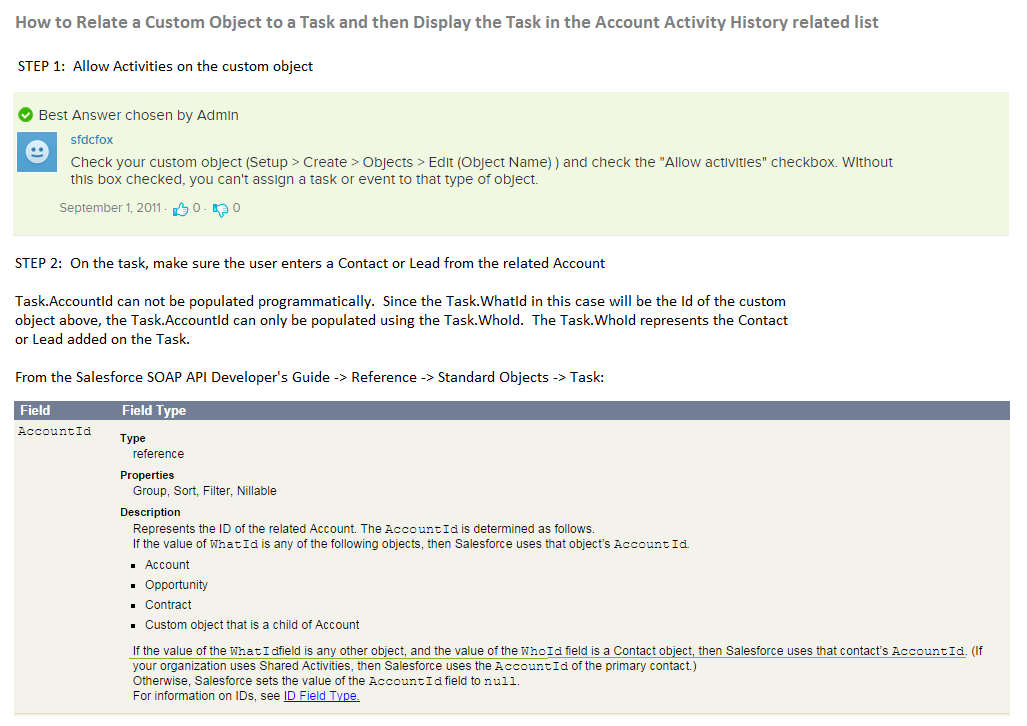Salesforce | How to Relate a Custom Object to a Task and then Display the Task in the Account Activity History