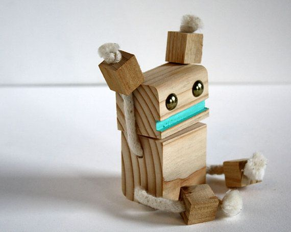 Block Bot a robot made from reclaimed wood | Woods