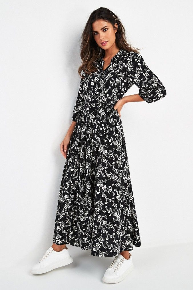 Buy Belted Maxi Shirt Dress from the Next UK online shop | Floral ...