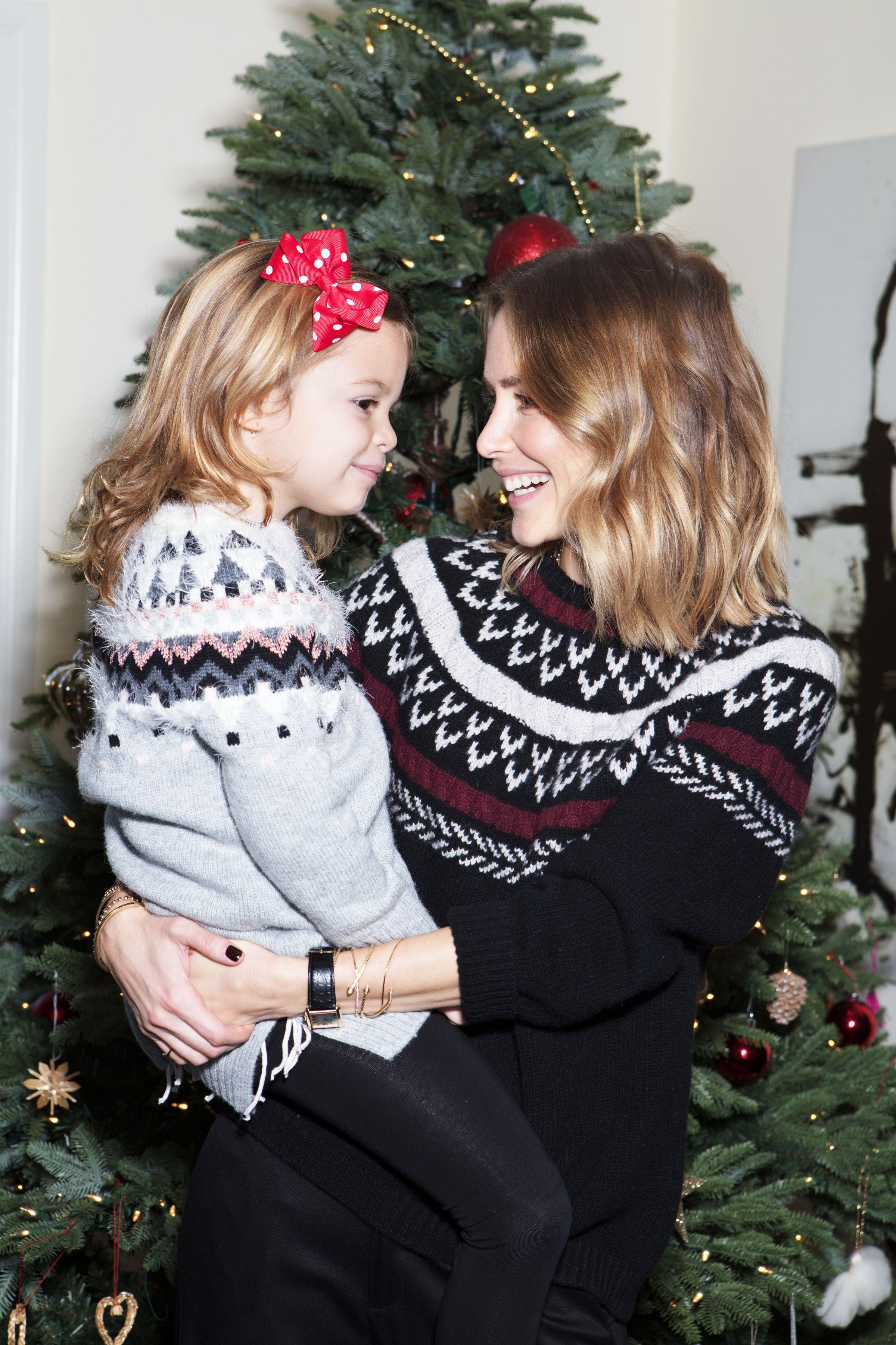anine bing holiday knit classic pants bianca family christmas
