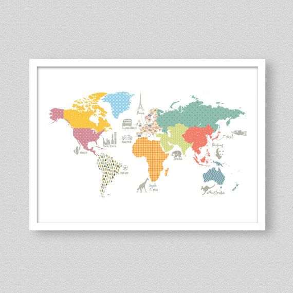 World map print childrens world map play room map size a1 a2 a3 this childrens print is the perfect way to add a burst of color and style to world map gumiabroncs Images