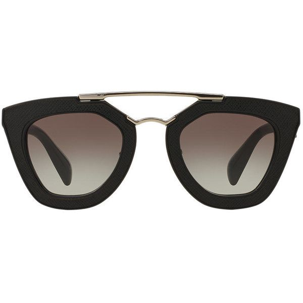 299c2e705a Prada Pr 14ss 49 Black Square Sunglasses (2 315 PLN) ❤ liked on Polyvore