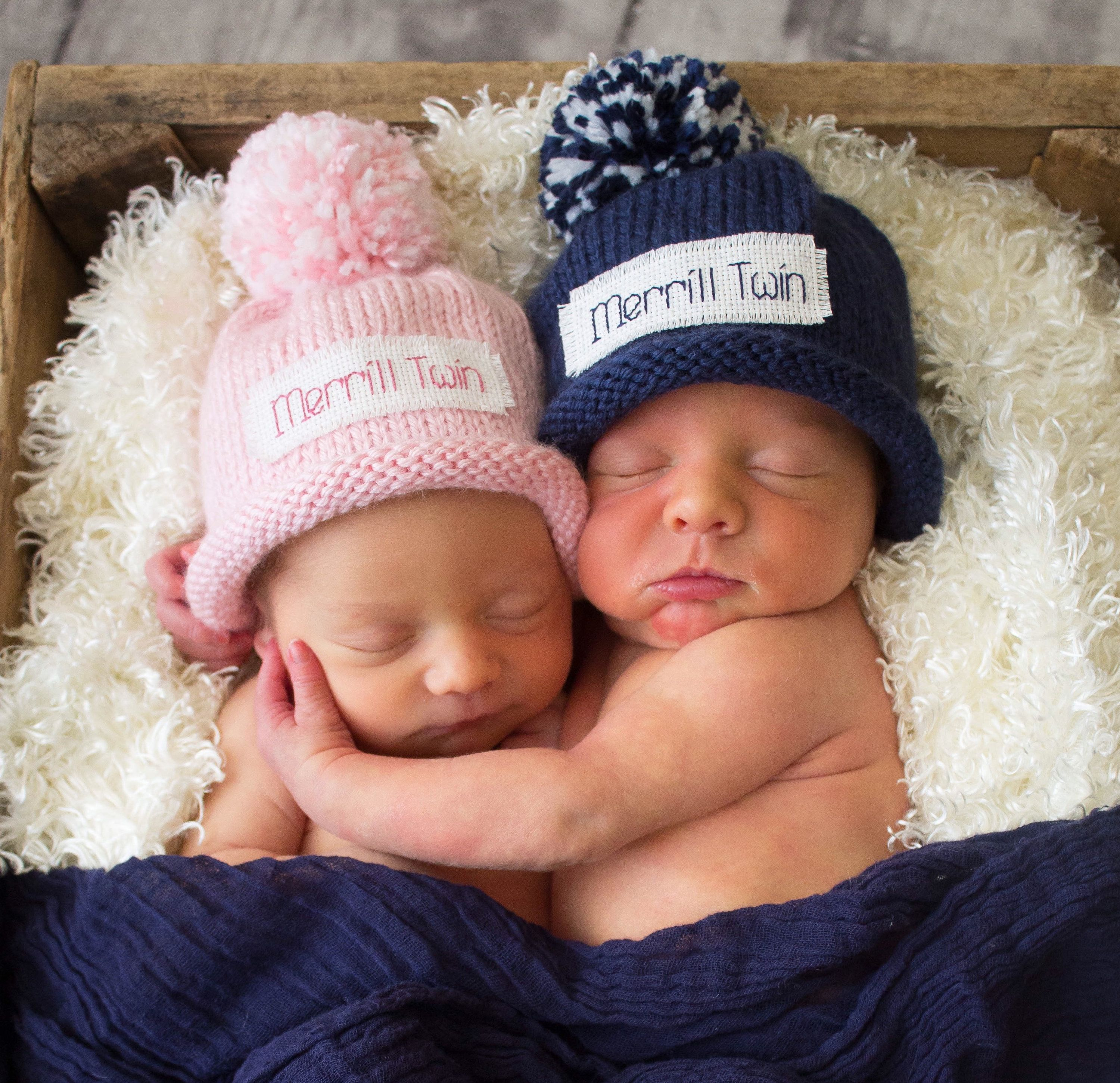 Photo of Twins, Baby Announcement, Name Reveal, Baby boy, baby girl, New Baby, baby shower, newborn, preemie, personalized,photo prop, knit baby hat