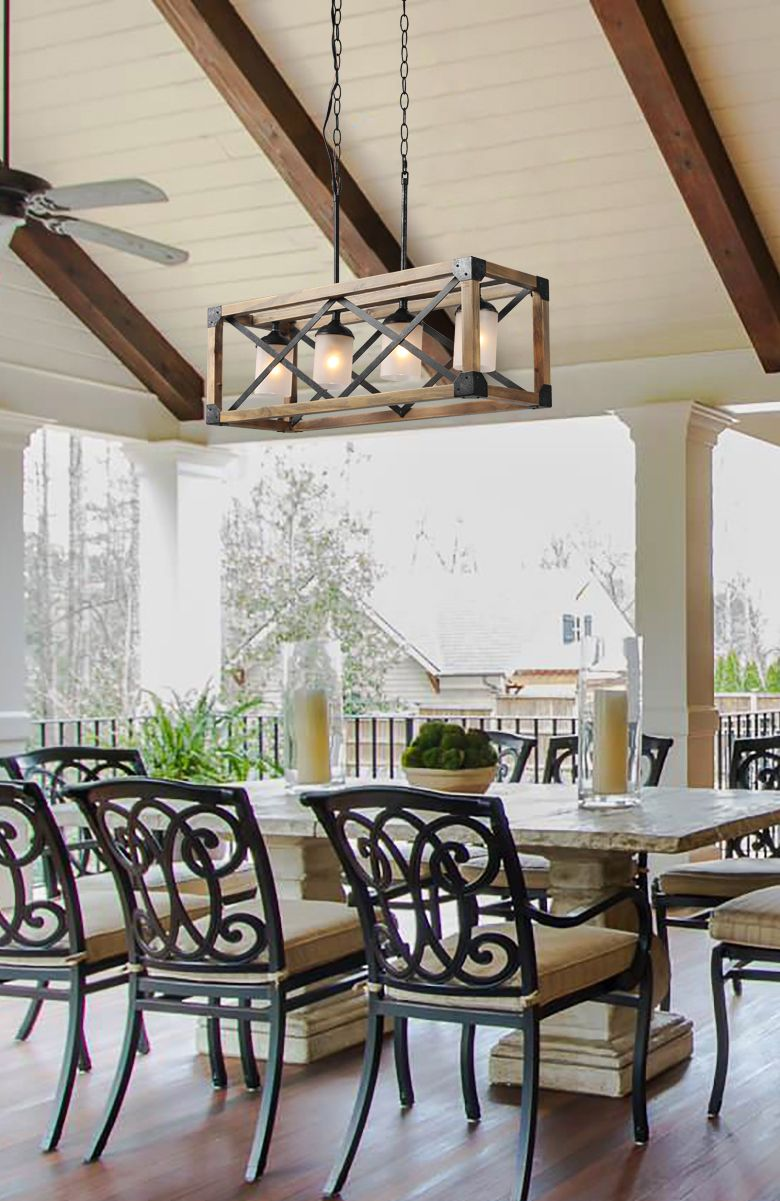 Rectangle Box Pendant Light 4 Lights Dining Room Chandelier Farmhouse Style Dining Room Rustic Kitchen Lighting