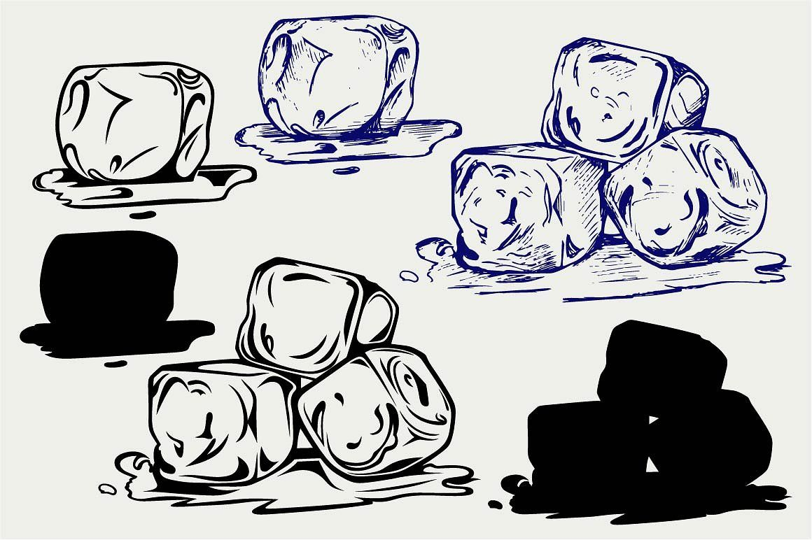 Bunch Of Ice Cubes Svg Ice Cube Drawing Ice Drawing Ice Cube Painting