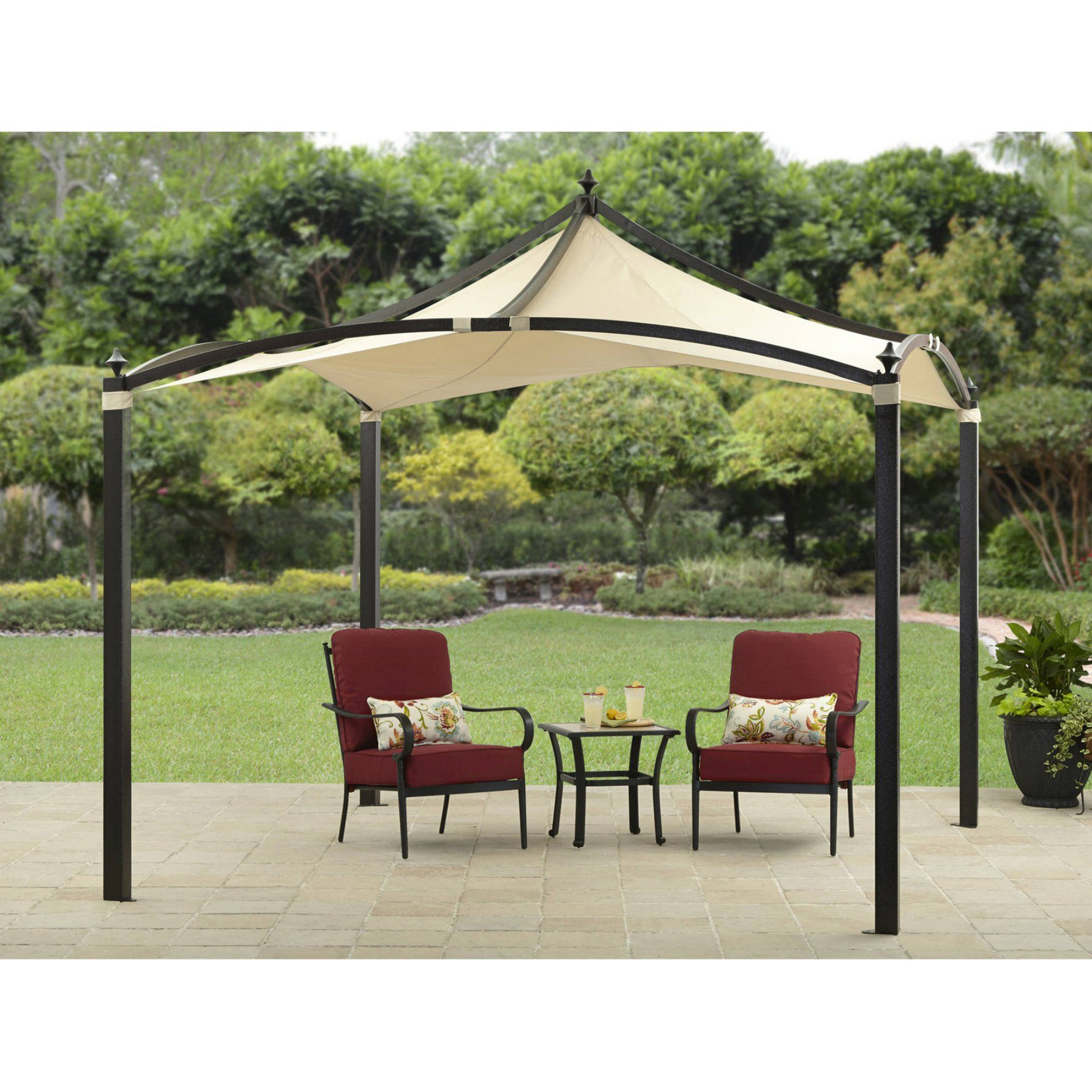 Modern 10x10 Ft Gazebo Pergola Square Canopy White Beige Outdoor Patio Deck Picclick Com Pergola Pergola Patio Gazebo Pergola
