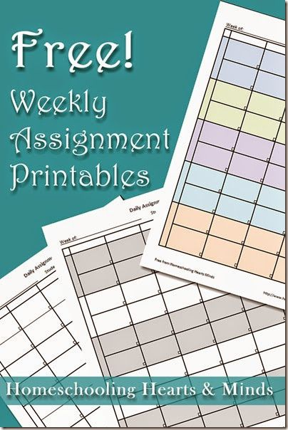 free weekly assignment sheet printable