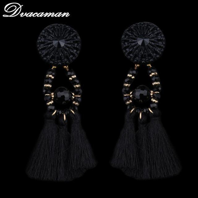 Exaggerate Ethnic Vintage Long Fringe Earrings Handmade Jewelry Statement Tassel Drop Earrings