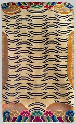 Tiger rug Tibet Wool pile Heavy to handle Middle 20th century Found in Ladak