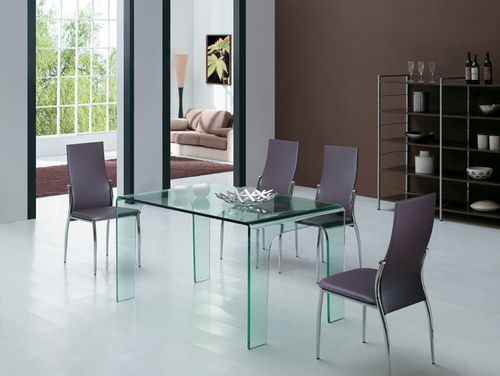 Mesa de cristal transparente de comedor -Mesa de diseño, multiusos ...