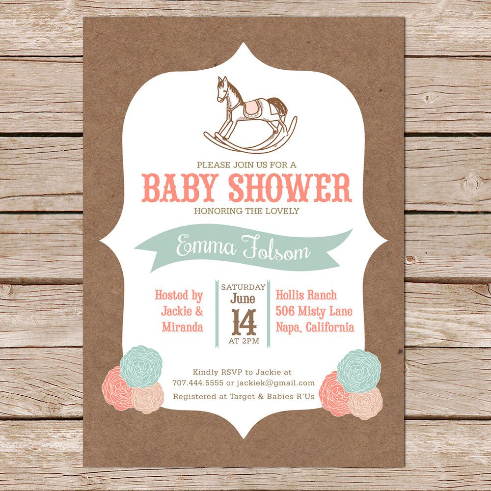 gender neutral baby shower invitation / rocking horse por paperhive ...