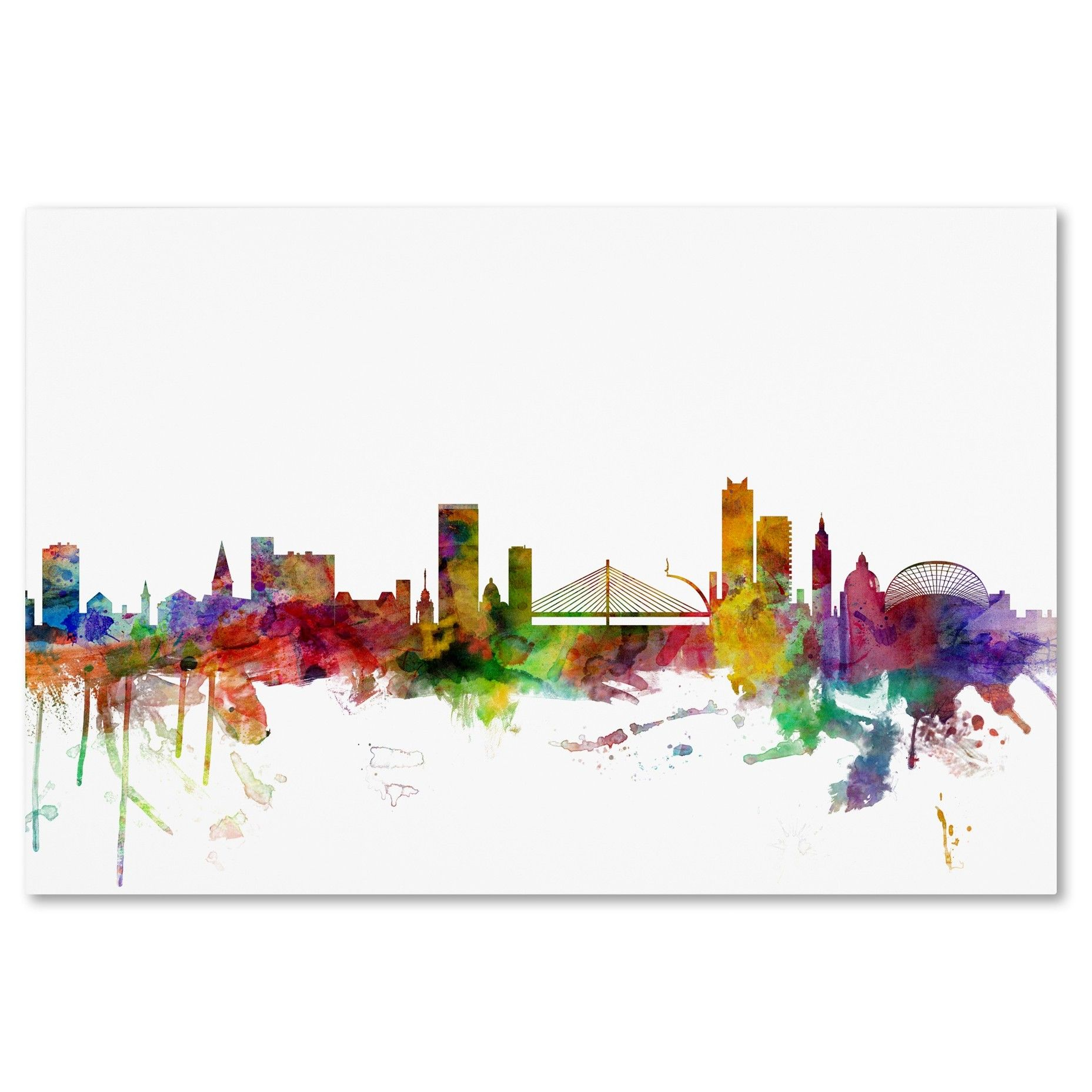 Liege Belgium Skyline Graphic Art Print On Wrapped Canvas Tablolar