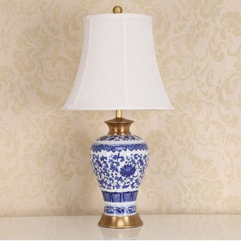 A product kiln modern chinese blue and white porcelain table lamp a product kiln modern chinese blue and white porcelain table lamp bedside lamp bedroom living room lighting lamps ceramic weddin mozeypictures Images