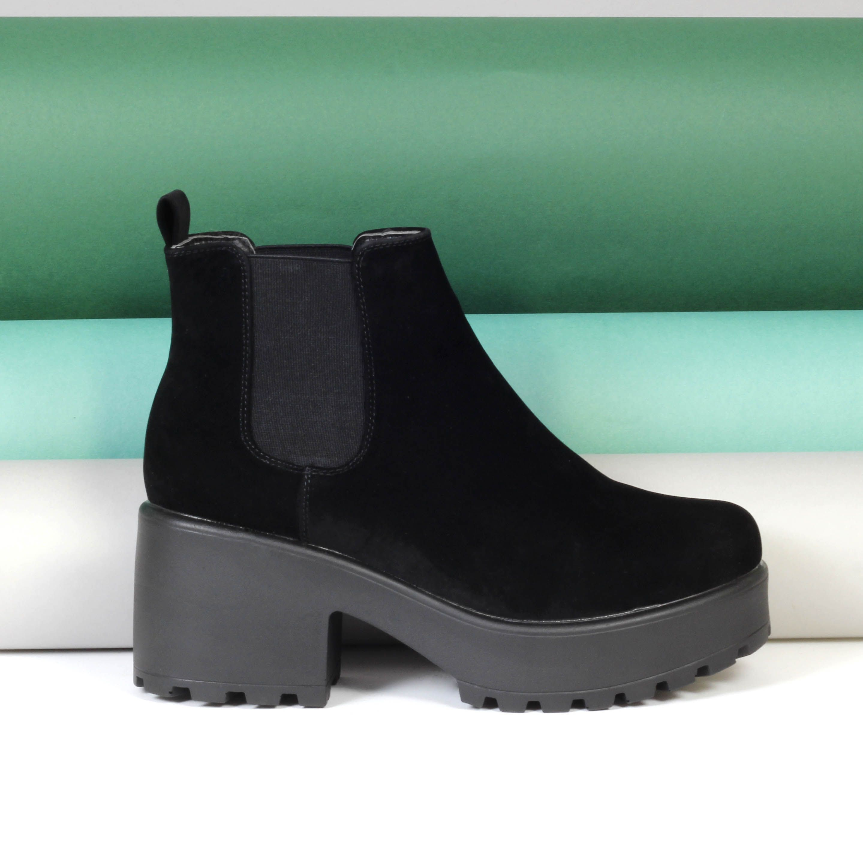 541b850f0 Winter faux suede black chunky boots from Korky s Shoes