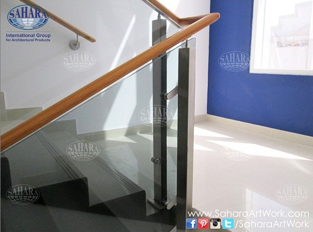 Saharaartworkclose Up From Our Handrail Project Tinted Glass With Pvc Top Railing And Royal Glass Accessories Mahogany Wood Handrail Railing