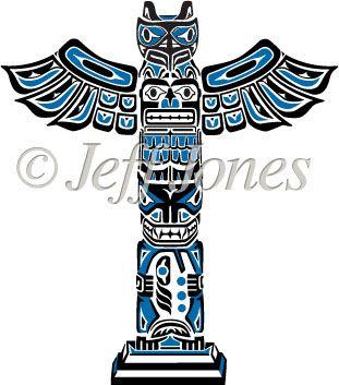Eskimos Totem Poles Haida Vector Art Icon Illustration Inuit