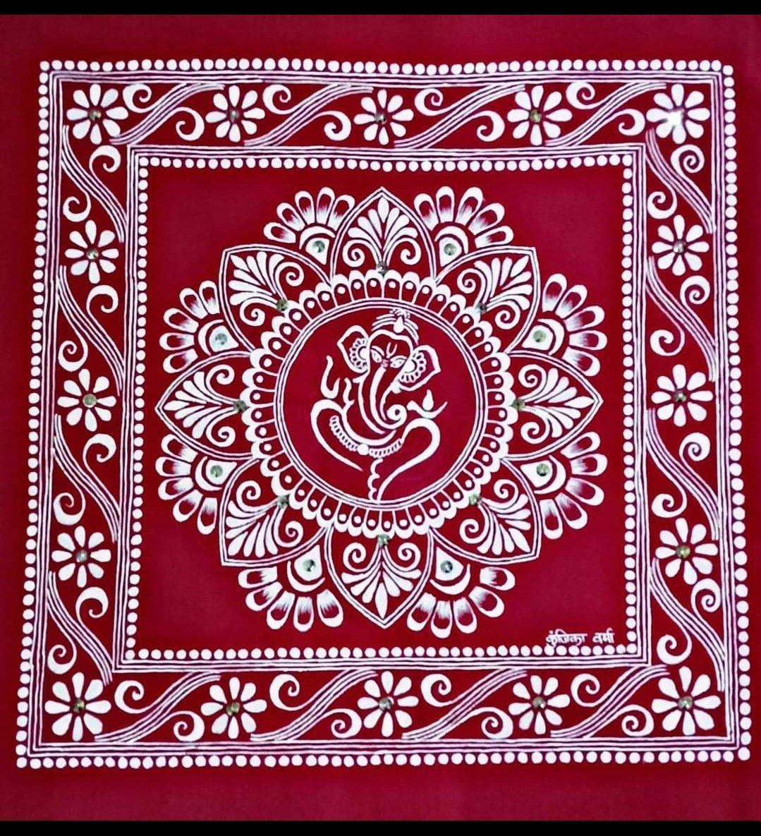Aipan ganesha | Tribal art drawings, Canvas art projects, Indian art  paintings
