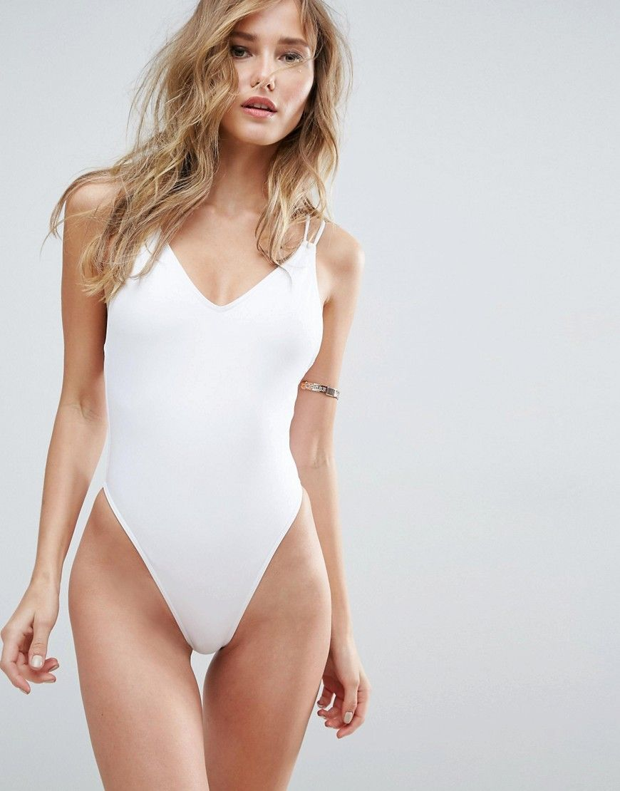 fb8c0e817c ASOS Cross Back High Leg Swimsuit - White | Products in 2019 ...