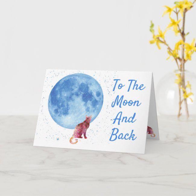 Cat And Full Moon Birthday Card | Zazzle.com