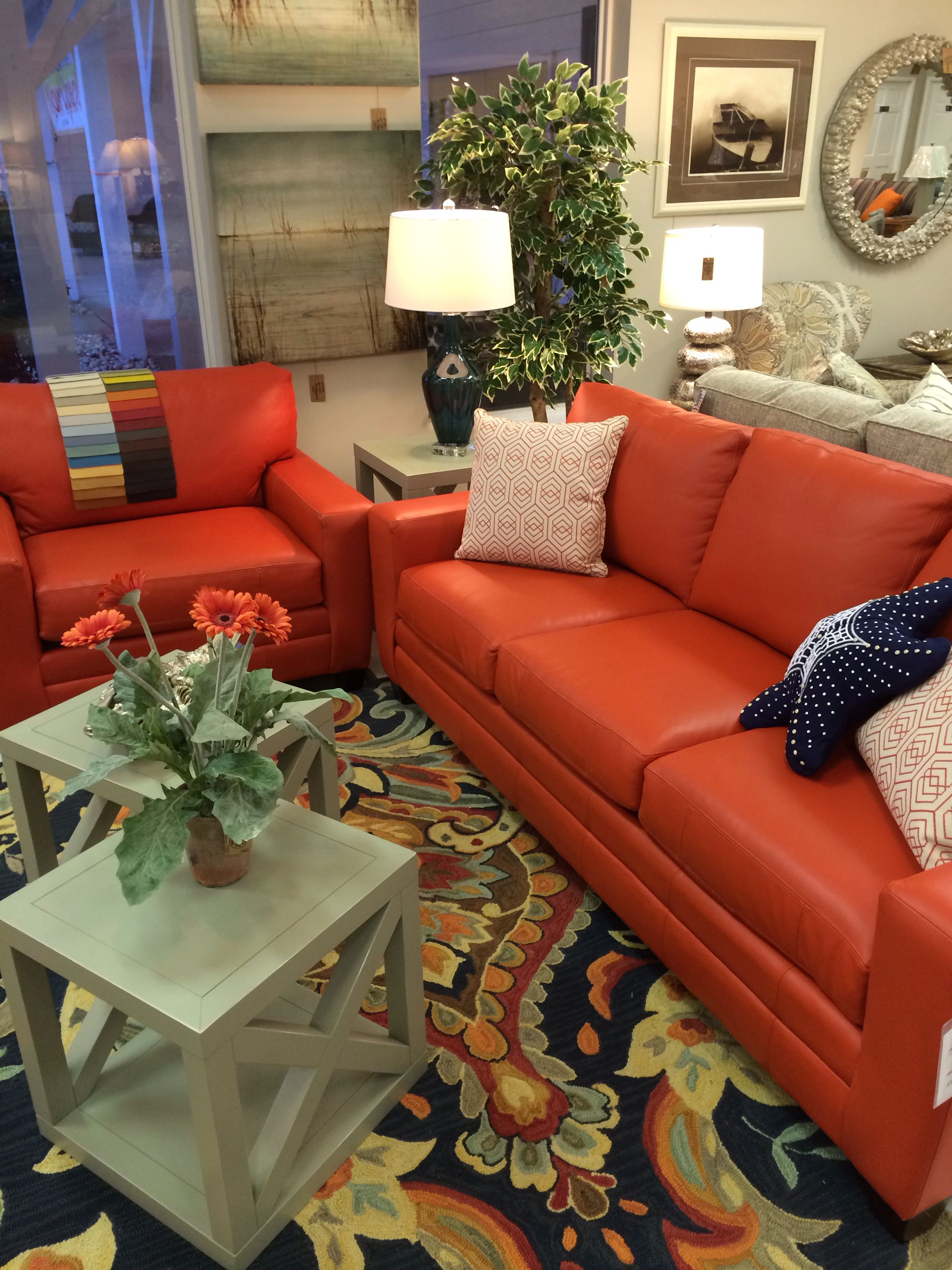 A Juicy Papaya Orange Leather Sofa U0026 Oversized Chair. A Waterfall Of Colors  To Choose From. Gorgeous U0026 Comfortable   At Outer Banks Furniture Kitty  Hawk.