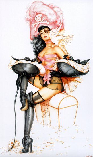 Pirates and Pinups! i'm actually planning to get this tatted in rememberence of one of my best friends