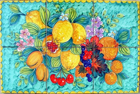 Hand Painted Decorative Tiles Magnificent Hand Painted Italian Ceramic Tiles  Fruit Of Italy  Table Top 2018