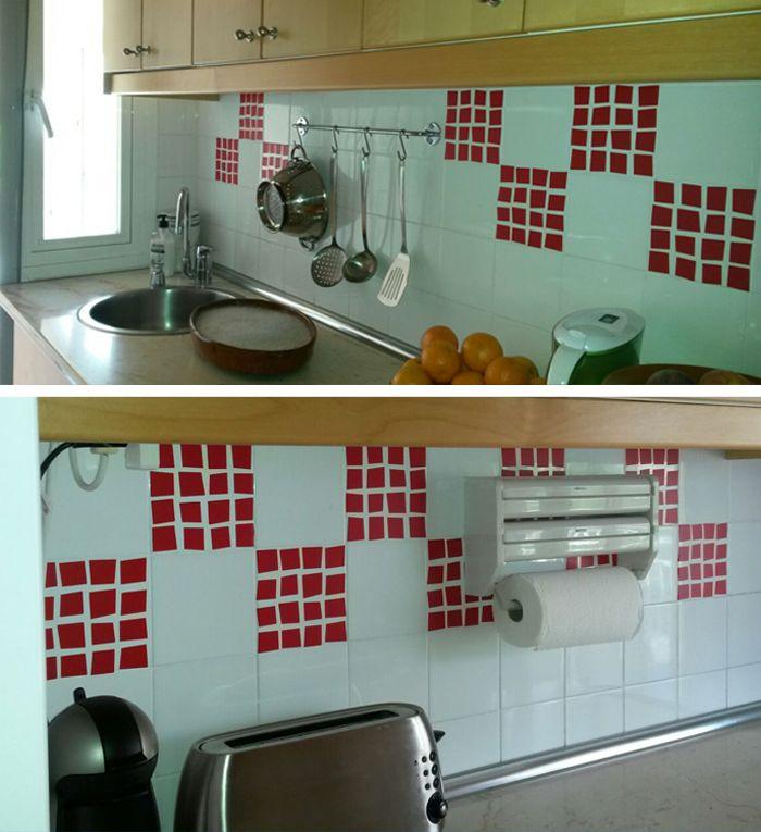 Vinilos para azulejos del modelo azulejo poligonal en rojo, para ...