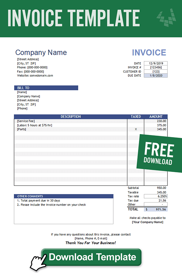 Download The Invoice Template From Vertex42 Com Invoice Template Invoice Template Word Printable Invoice