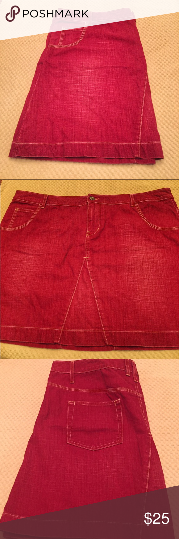Boden Red Denim Skirt Fun Boden skirt! It's short -17.5 inches in length. Excellent condition! Euro size 20R (16R US). Boden Skirts Mini