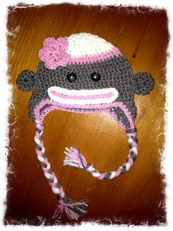 Gray and pink Sock monkey hat  c32c7405140a