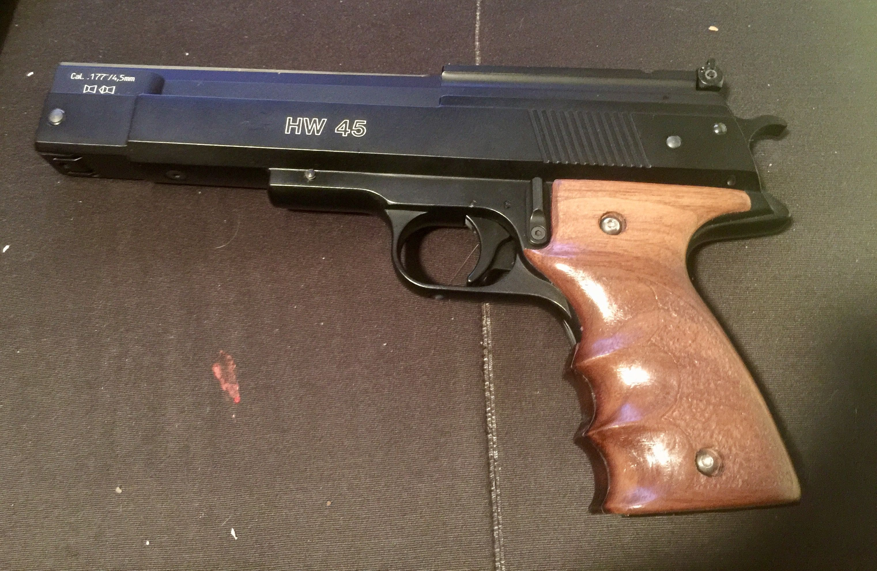 Weihrauch HW45 with handmade Walnut wrapped around Grip  A blast