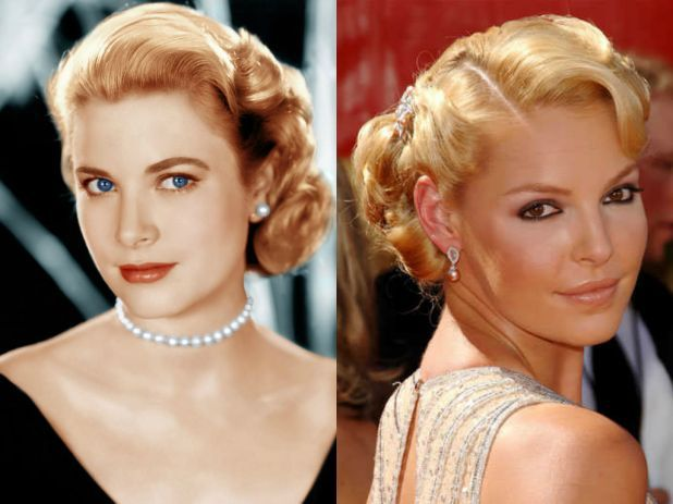 Vintage Vs Modern Grace Kelly And Katherin Heigl Who S Old Hollywood Up Do Do You Love More Wedding Hairstyles Hair Styles Hairdo