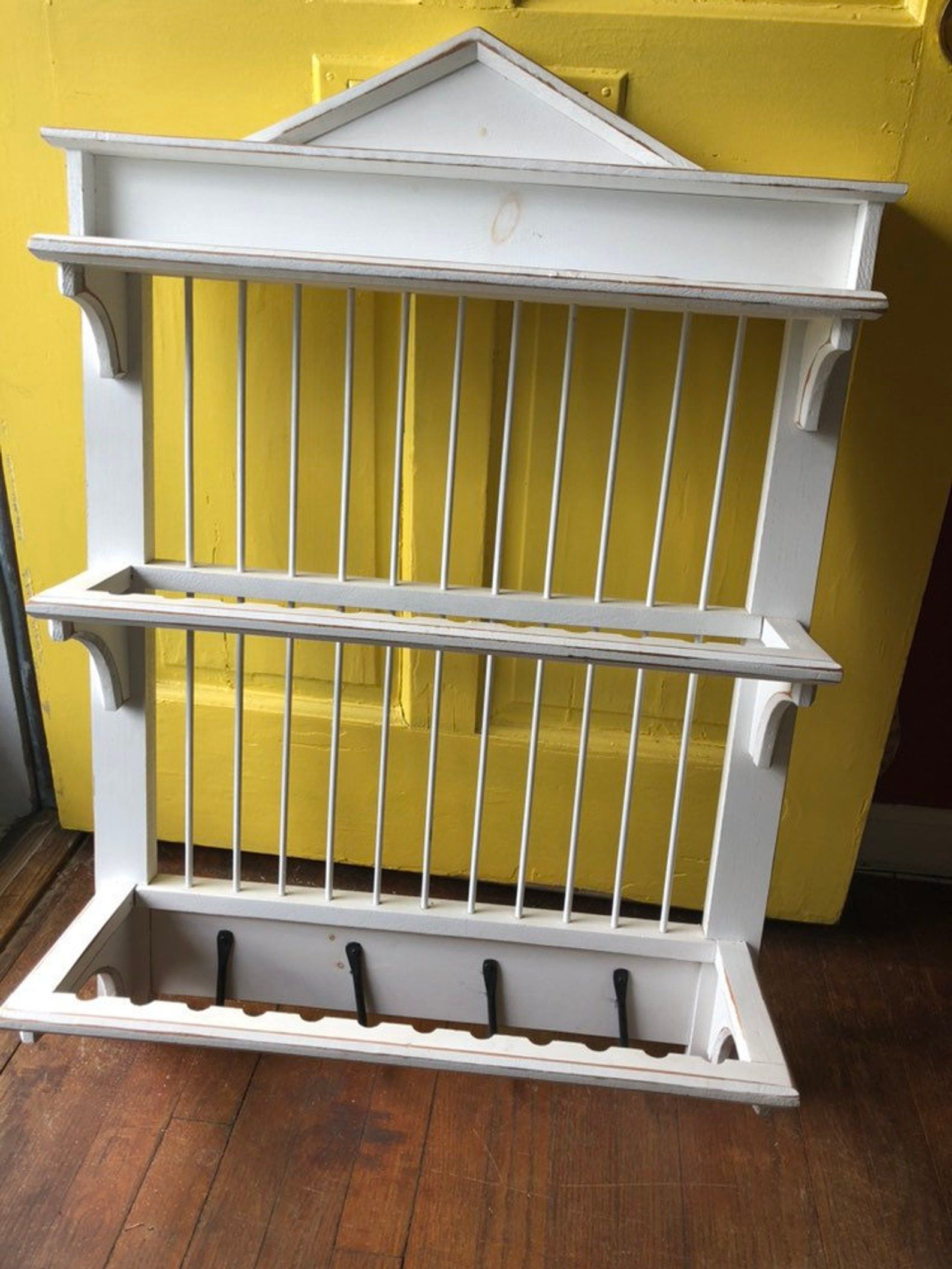 VINTAGE PLATE RACK, Farmhouse, White Wall Plate Rack, Cup and Plate Rack, Amish Plate Rack, Wall Rack, Shop Display at Nova Vault #plateracks