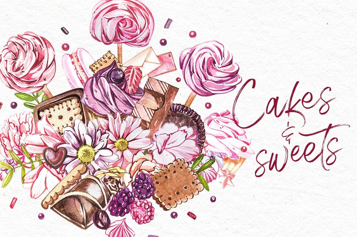 Cakes and sweets illustrations in 2020 wedding cake