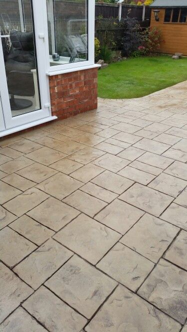 Biscuit Random Slate Imprinted Concrete Patio In Deeside By Www