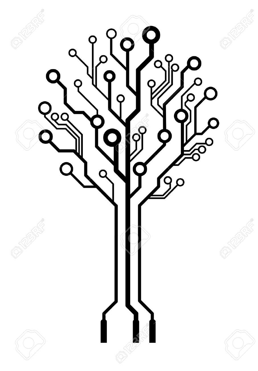 12309425-Conceptual-logo-circuit-board-tree-isolated-Stock-Vector ...