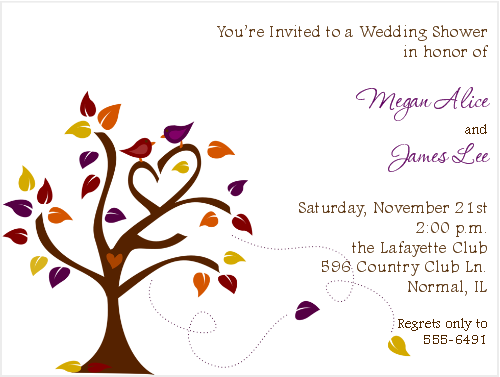 Love Birds In An Autumn Tree For An Autumnal Engagement From - Fall bridal shower invitation templates