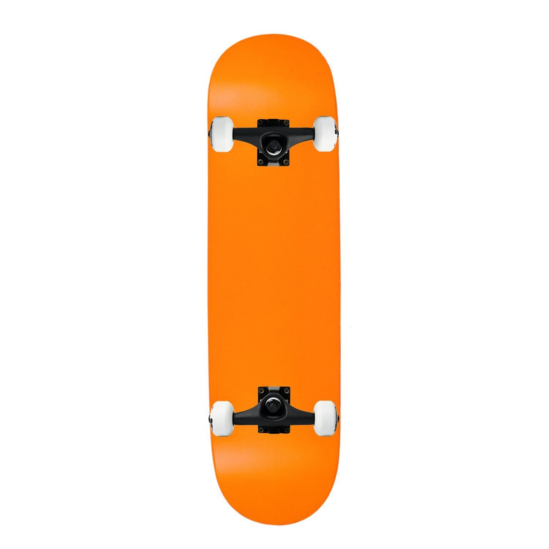 """Moose Complete Skateboard NEON ORANGE 8.0"""" Black/White ASSEMBLED. Brand New, In Shrink. Core Trucks. 52mm TGM Wheels. Amphetamine Abec 5 Bearings. Black Diamond Griptape."""