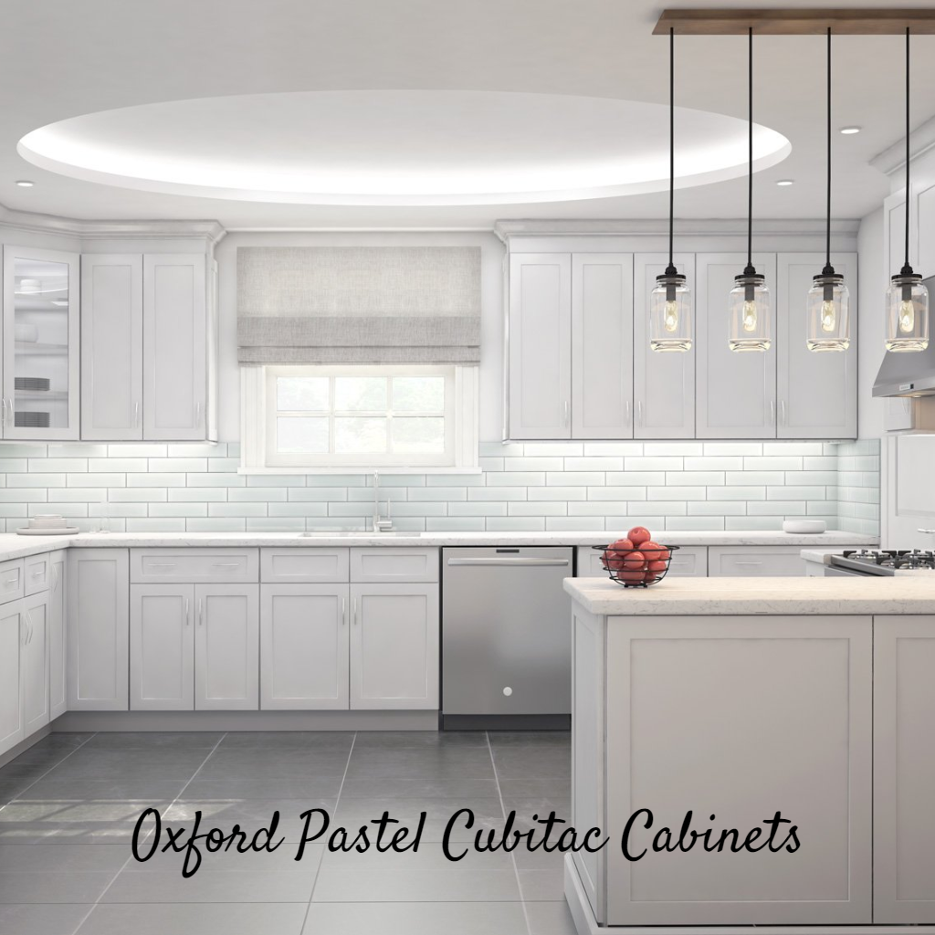 Oxford Pastel Kitchen Cabinets Are Delicately Detailed Pastel Hued Cabinets Fresh Light Gray Finish Alo Kitchen Cabinets Kitchen Inspirations Pastel Kitchen