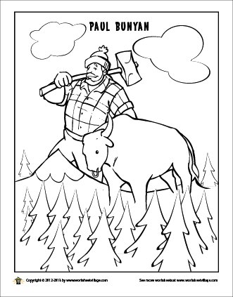 Paul Bunyan And His Giant Blue Ox Babe Coloring Pages Paul Bunyan Minnesota Kids