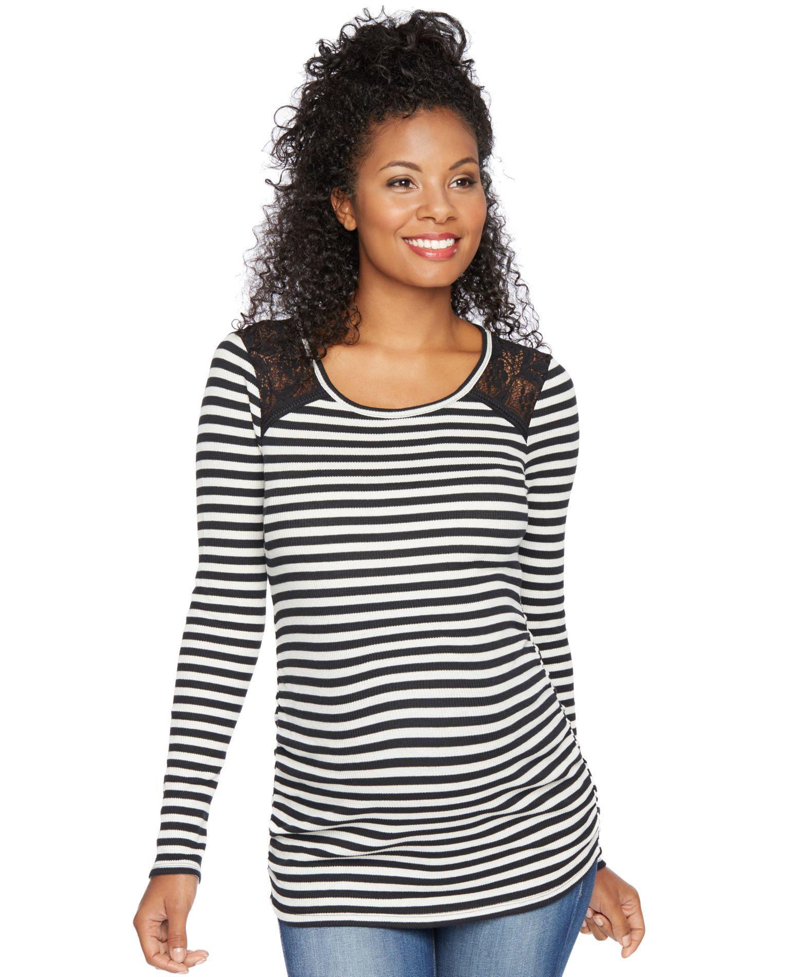 b013940c0b4c2 Motherhood Maternity Striped Lace-Paneled Shirt | Products ...
