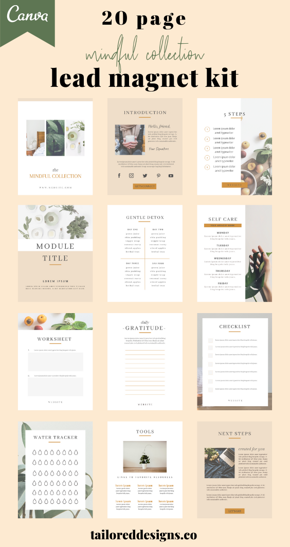 Lead magnets made EASY! Design your next opt-in, freebie, e-book or e-course in just a few clicks! A ready-to-use 20 page lead magnet template perfect for a wellness coach, self-care enthusiast, or lifestyle blogger looking to grow their traffic and generate leads with a professionally designed lead magnet. You can use the Canva template design as is, or brand with your own colors, fonts, and images. Lead magnet template pages include: